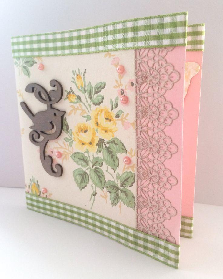 Handmade Greetings Card - Unique Card - Blank Card - Retro - Little Bird - White & Green Ribbon - Die Cut Card - Love - Embossed - Paper de la boutique MademoiselleCraft sur Etsy