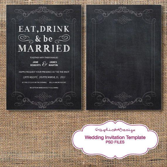 Chalkboard Wedding Invitation Template: Chalkboard Wedding Invitation Card