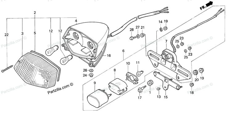 Diagram of Honda Motorcycle Parts 1995 VT600C AC TAILLIGHT Diagram