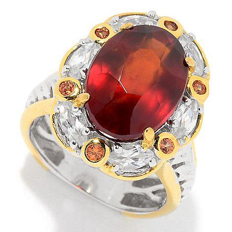 156-954 - Gems en Vogue 7.70ctw Hessonite, White Zircon & Orange Sapphire Halo Ring