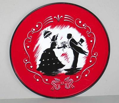 Vintage Tin Kitchen Tray White Red Black Silhouette