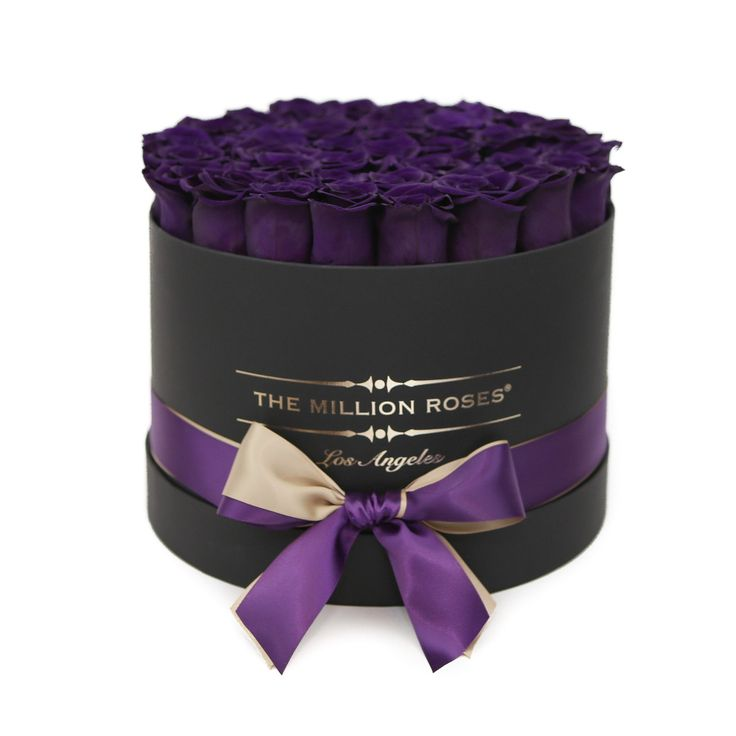 Hand crafted luxury soft touch box. About 40 stems of The Million ETERNITY dark purple (long lasting preserved roses). The Million Eternity rose last up to one year. Preserved roses: Preservation is a