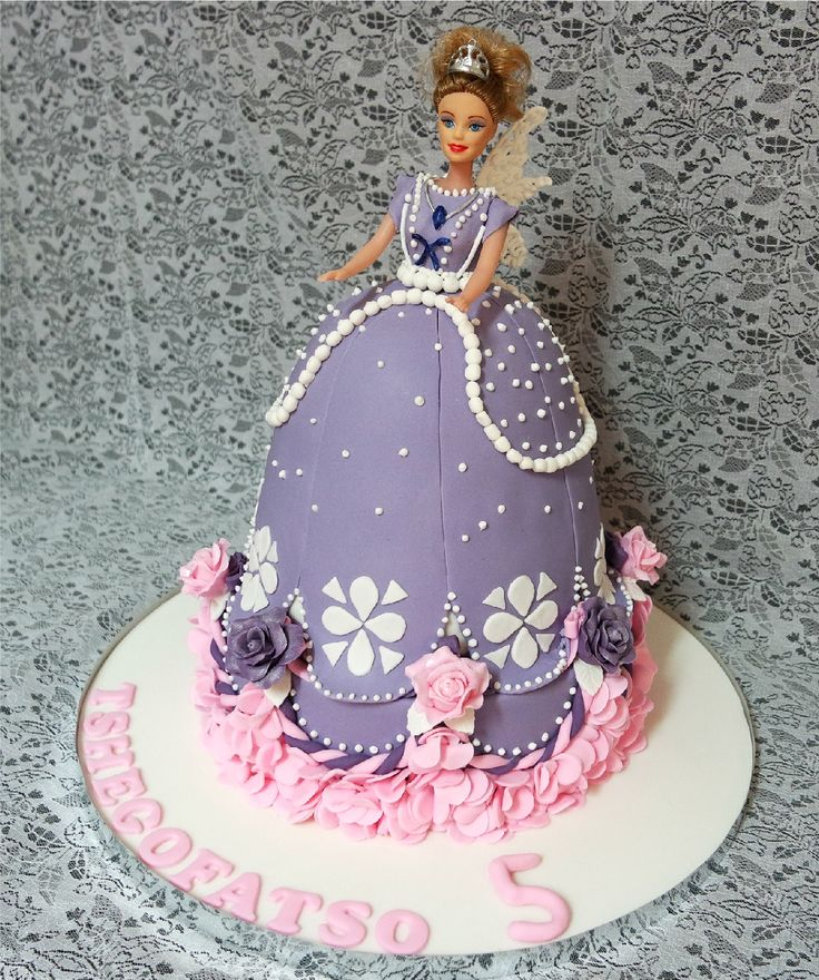 Princess Sophia cake on top of a decorated chocolate cake.  Doll dress cake.  Birthday cake for a little girl.