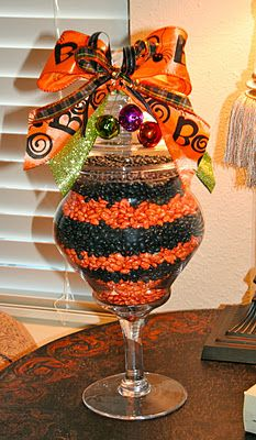 Halloween Decorating with Jelly Beans (I would use painted beans) cheaper plus nobody wants to eat black jelly beans