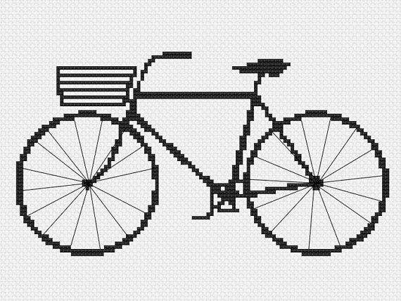 hipster cross stitch pattern retro modern basket bike por futska