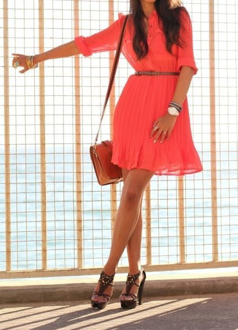 Cute coral dress and awesome shoes