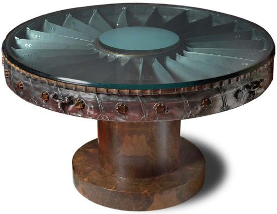 `.Furniture made from a retired Aircraft by Giancarlo De Astis: Jet turbine, Walnut Wood, and Glass.