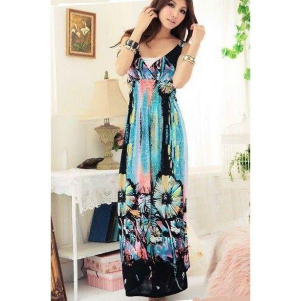Cute Maxi Dresses   Sky Blue Floral Cute Maxi Dress