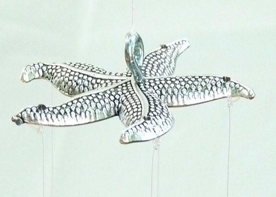 Cuillère & Starfish argent antique poissons Windchime, décoration Mobile jardin cinétique nautique rustique, Upcycled Marine Life coutellerie Yard Art,