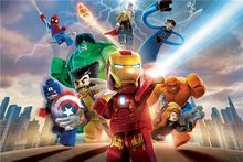 Costumbre Mural Poster Wallpaper Lego Lego Lego Superhéroes de Marvel Comics Avengers Hulk Sticker Pegatinas de Pared Decoración Del Hogar #2789 #(China)