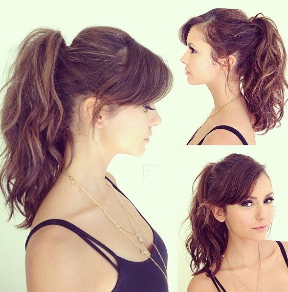 My current length bangs, cute on her but would bring focus to a big forhead. 15 Cute Ponytail Hairstyles: High Ponytail with Side Swept Bangs