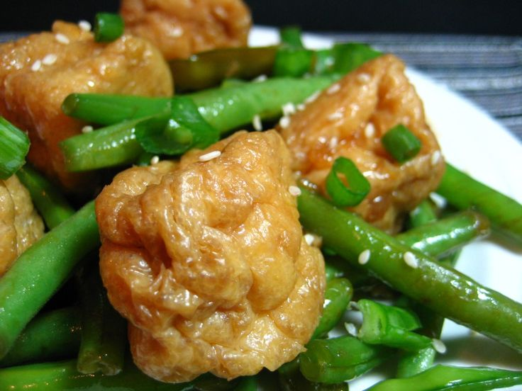 Asian Style Tofu Puffs with Green Beans and Snap Peas
