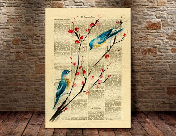 Birds Art Print  Book Page Art Vintage Dictionary by MyArtPrint