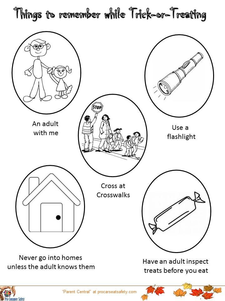 A Coloring Page For Children With Tips To Remember On Halloween Night Trick Or