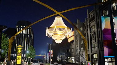 Playhouse Square aims for bright lights, big city feel with $16 million in signage, digital displays and a giant outdoor chandelier!