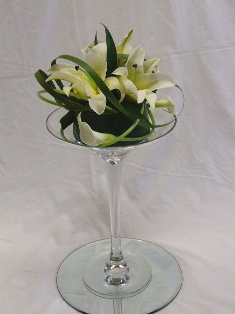 Flowers in a Martini Glass   How to Make a Flower Arrangement in a Martini Glass Vase   eHow.com