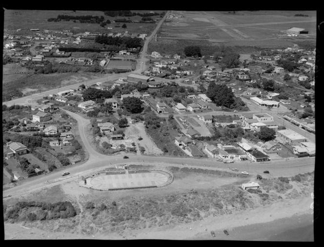 Aerial view of Paraparaumu, including beach, skating rink at Maclean Park, Airport and Marine Parade