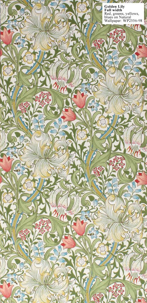 William Morris Golden Lily Full Width Red, Greens, yellows, blues on Natural WP2556-98