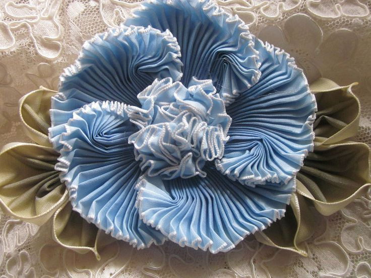 French Ombre Millinery Ribbon Flower Pin~Ribbonwork