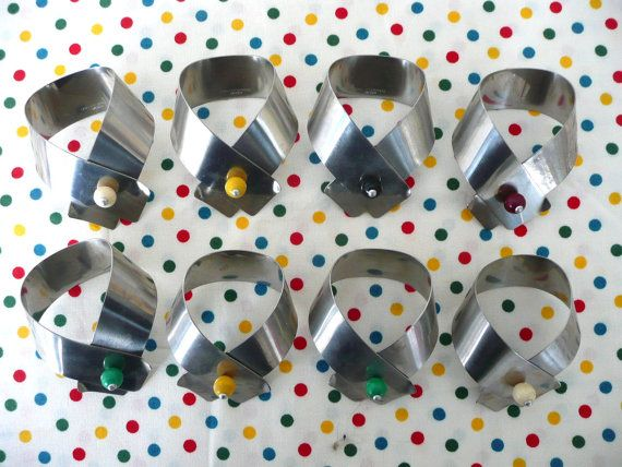 Mid-Century stainless steel napkin rings- set of 8- from Sweden