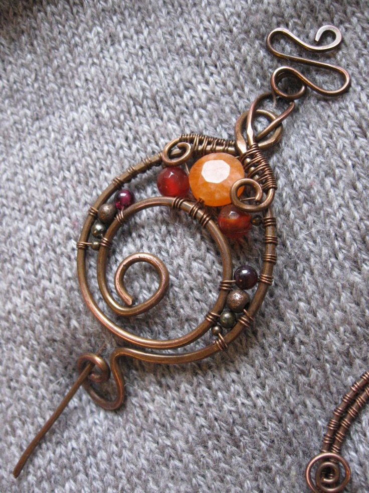 Wire Wrapped Copper Shawl Pin - Copper Wire Shawl Pin - Scarf Sweater Pin - Spiral Brooch - Orange red pin -. $28.00, via Etsy.                                                                                                                                                                                 More