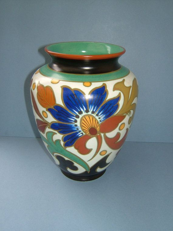 1950s Gouda Royal Pottery Zuid Holland Flower Vase Made In