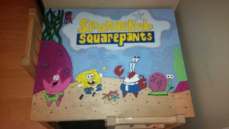 Sponge bob painting on an old table