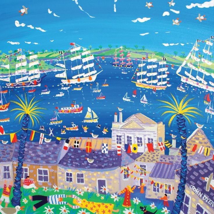 Fluttering Flags, Falmouth. Tall Ships Regatta 2014. Original Painting by John Dyer