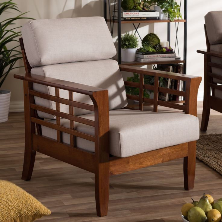 Baxton Studio Leda Modern Classic Mission Style Cherry Finished Wood Beige High Back Cushion Living Room