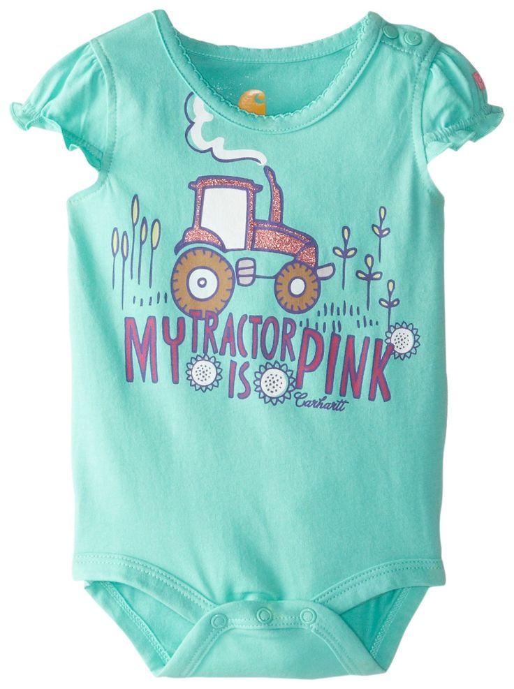 Amazon.com: Carhartt Baby Girls' Pink Tractor Bodyshirt: Clothing