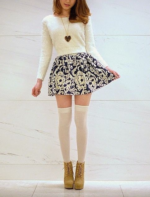 white crop sweater, heart necklace, blue + white pattern skater skirt, white knee-high socks, brown wedge tie boots, autumn winter ootd
