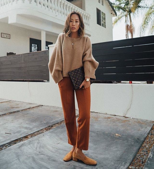 Aimee Song in camel and nude