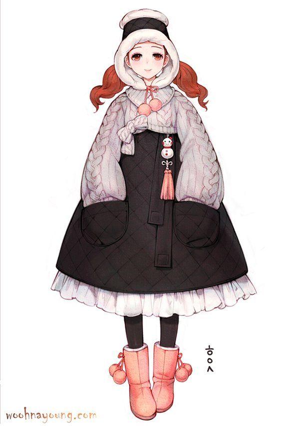 한복 Hanbok : Korean traditional clothes[dress]   WOOHNAYOUNG[흑요석] — Hanbok cardigan&chima; for winter 겨울용 한복가디건&치마...
