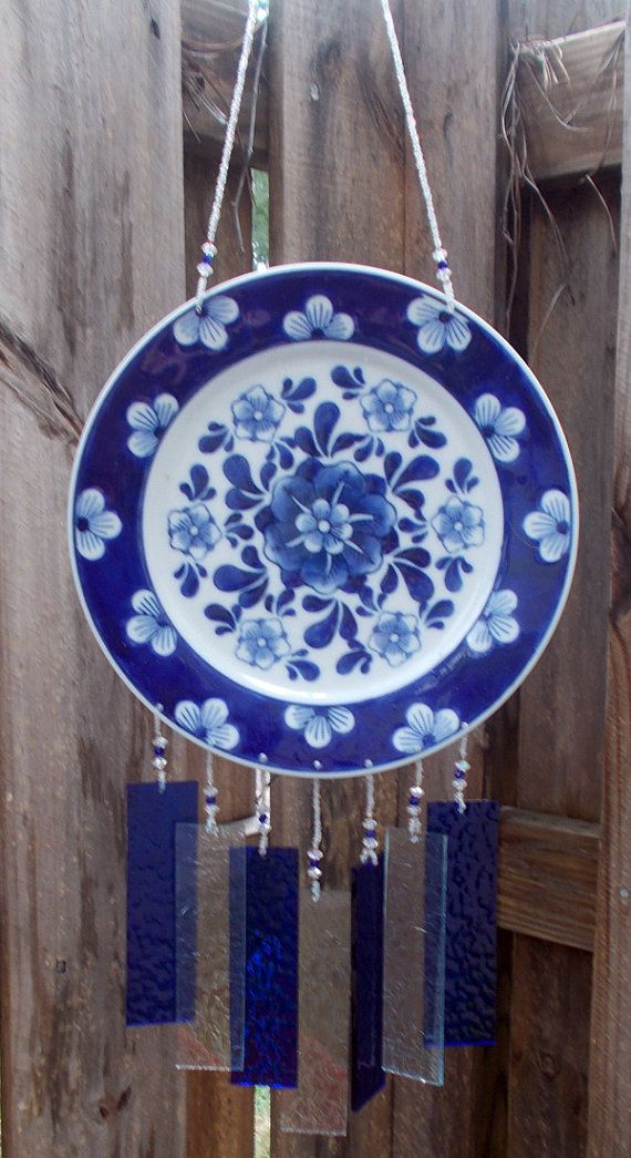 Cobalt Blue Plate Windchime with Stained Glass Chimes