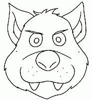 Maschera del lupo dei tre porcellini da stampare colorare e indossare per bambini