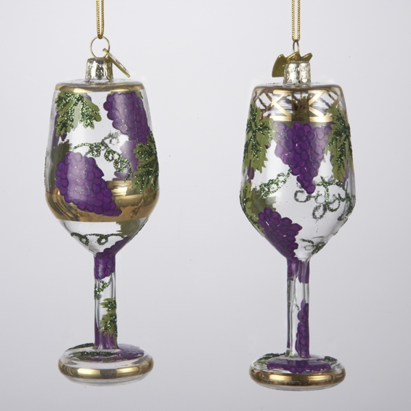 Christmas Decorations With Wine Glasses: Spun Glass Wine Glass With Grapes Ornament