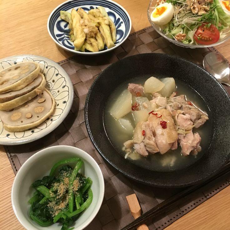 1/28 #鶏と大根のエスニックスープ #小松菜のおひたし #辛子蓮根 #ナスのゴママリネ #野菜サラダ