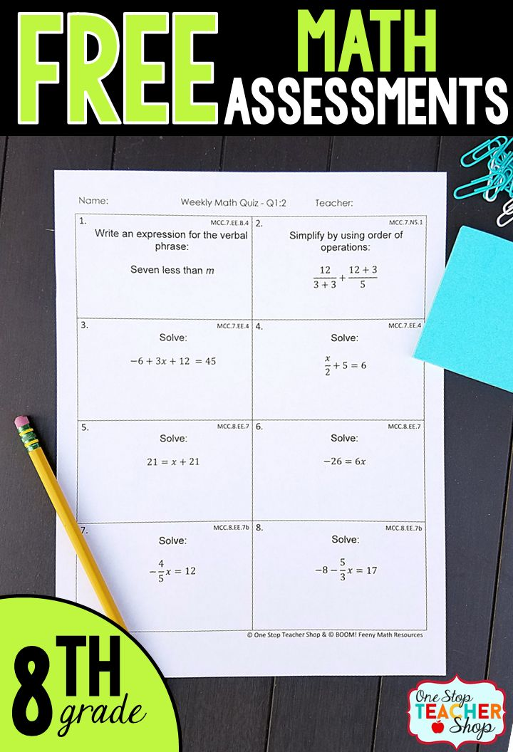 Free Math Assessments or Quizzes for 8th Grade. These 8th Grade Math Quizzes are aligned with the common core math standards. These 8th Grade Math assessments can also be used as quick checks, spiral math review, and progress monitoring.
