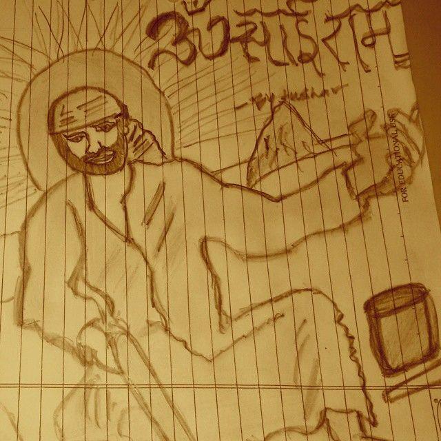 #photography#gods#faith#peace#happiness#sketch#Saibaba.Sketch of my Guru Sai Baba drawn last night.