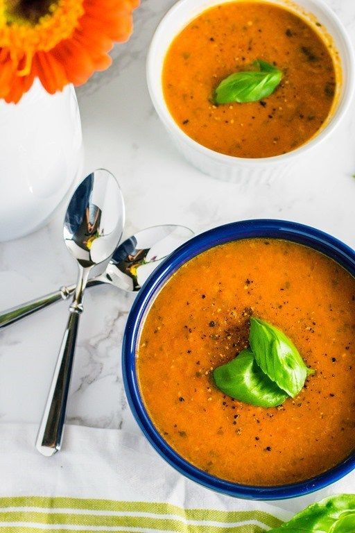 Healthy Roasted Tomato Basil Soup - Hello to Fit