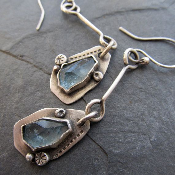 Long Earrings silver Dangling aquamarine gemstone pale by artdi, $195.00