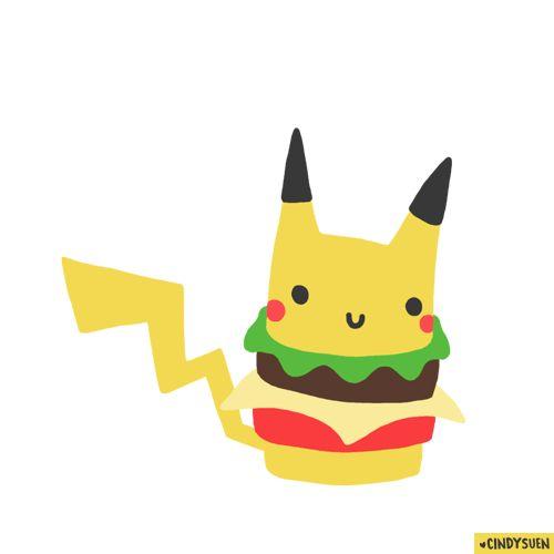 Pokemon sandwich McDonald Animation gif funny transparent #pikachu #burger #pokemon #gif by Cindy Suen