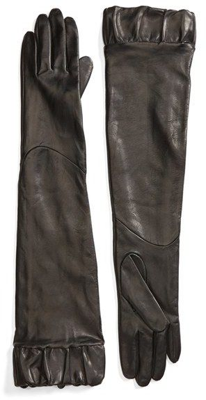 Fownes Brothers Ruffle Trim Long Leather Gloves