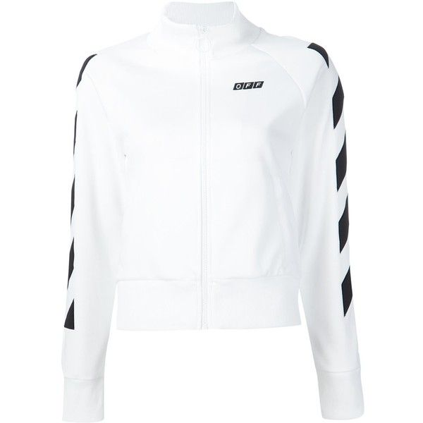 Off-White zip-up sweatshirt (6.537.280 IDR) ❤ liked on Polyvore featuring tops, hoodies, sweatshirts, white, white top, white zip up sweatshirt, zip up top, off white sweatshirt and white sweatshirt