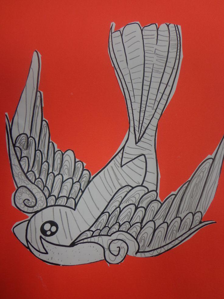 découpage d'un coloriage d'oiseau et graphisme avril 2014 CP CE1