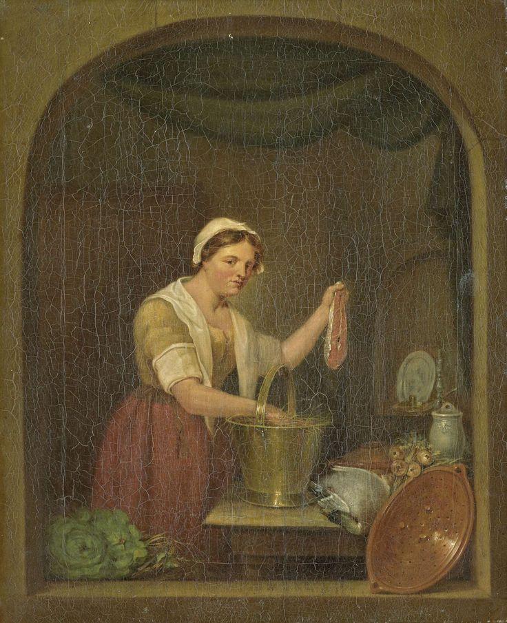 Jan de Ruyter | The Kitchen Maid, Jan de Ruyter, 1820 | De keukenmeid. Een keukenmeid houdt in haar linkerhand een moot zalm omhoog. Op tafel staat een emmer met stro, een dode eend, een pot en een bos uien of knollen. Het geheel gezien door een stenen venster, links in de hoek twee kolen of kroppen sla, rechts een aardewerken vergiet.