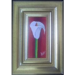 Framed Original oil paintings by Hanli Barnard - Warm Arum Lilly - 290 x250 x 30mm for R250.00