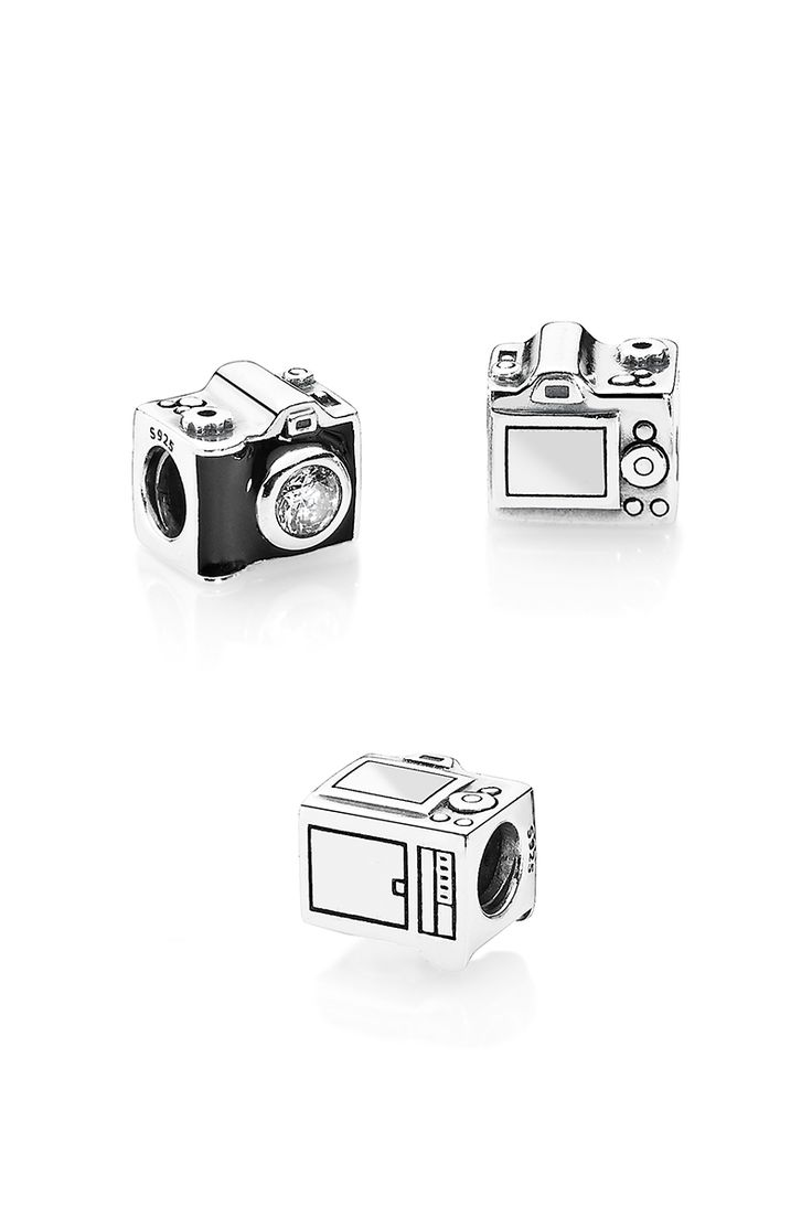 Shiny black enamel and a sparkling cubic zirconia acting as the camera lens bring a sense of nostalgia to this quirky camera charm. This is a great memento of all the places you have seen and captured forever. #PANDORA #PANDORAcharm