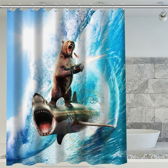 Bear ridding shark shower curtain. Cool!