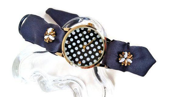 Handcrafted Jewelry Watch Women Fabric Stap by HarmonyHourWatches